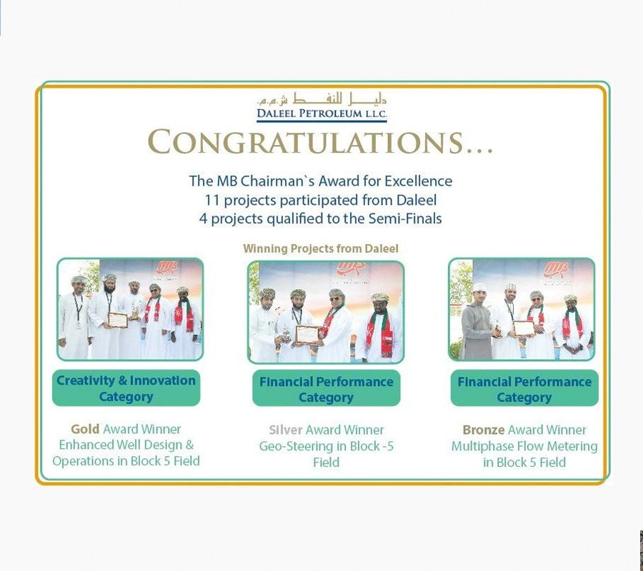 Daleel Petroleum grants three winning projects in MB Chairman Award of Excellence competition